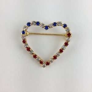 Red White and Blue Heart Pin UB2749