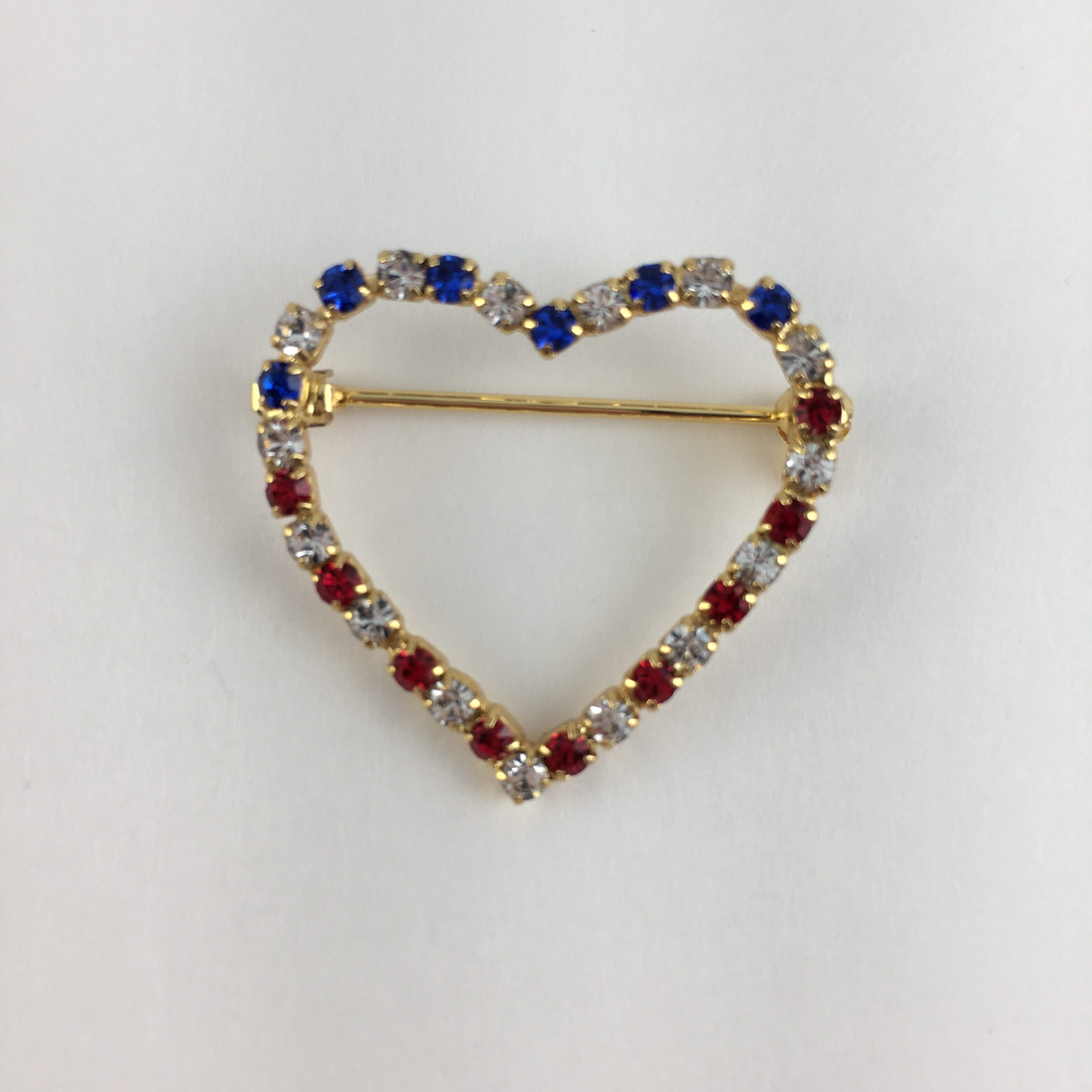 Red White And Blue Heart Pin Ub2749 Song Lily
